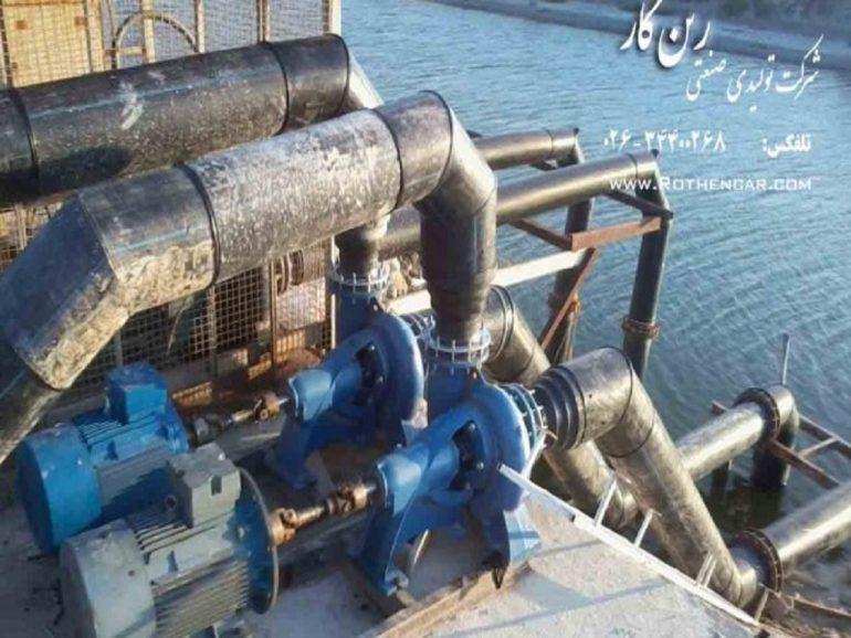 انتقال آب از روخانه به حوضچه های پرورش ماهی